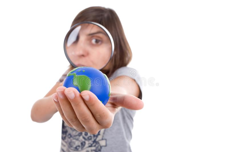 Download Young Woman Holding Small Earth Globe Stock Photo - Image: 6482606