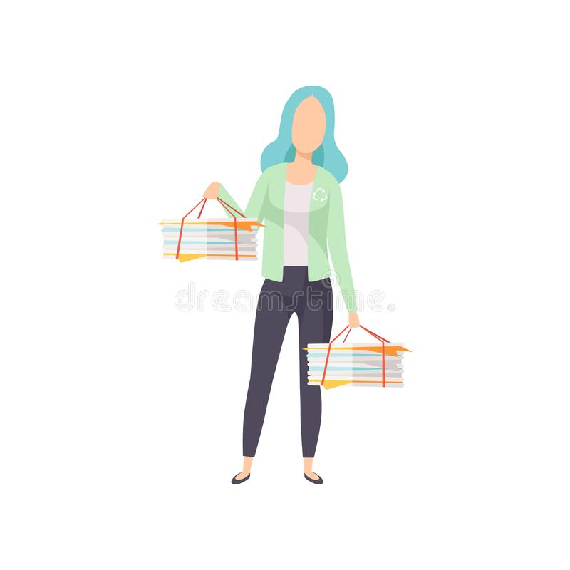 Young woman holding stacks of used papers, people gathering, sorting garbage for recycling vector Illustration on a. Young woman holding stacks of used papers stock illustration