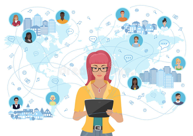 Young woman holding a tablet and communicating people all over the world. Social network and social media concept. stock illustration