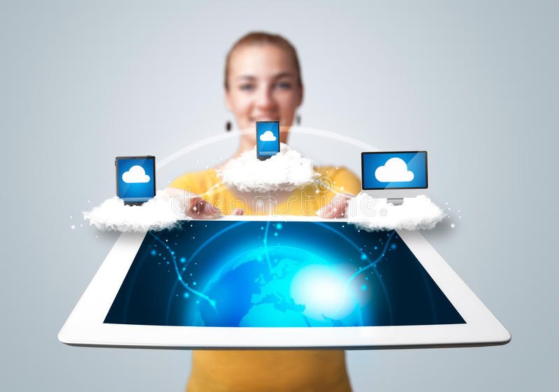 Young Woman Holding Tablet With Modern Devices Stock Photos