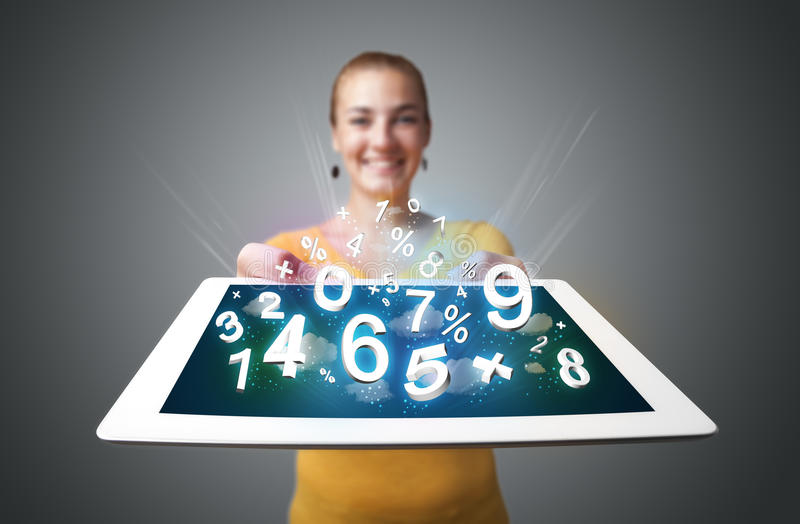 Young Woman Holding Tablet With Numbers Royalty Free Stock Images