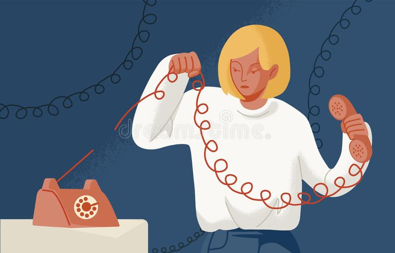 Young woman holding telephone with torn wire. Concept of break up, cessation of communication or connection, disconnect. Breaking of unnecessary social ties vector illustration
