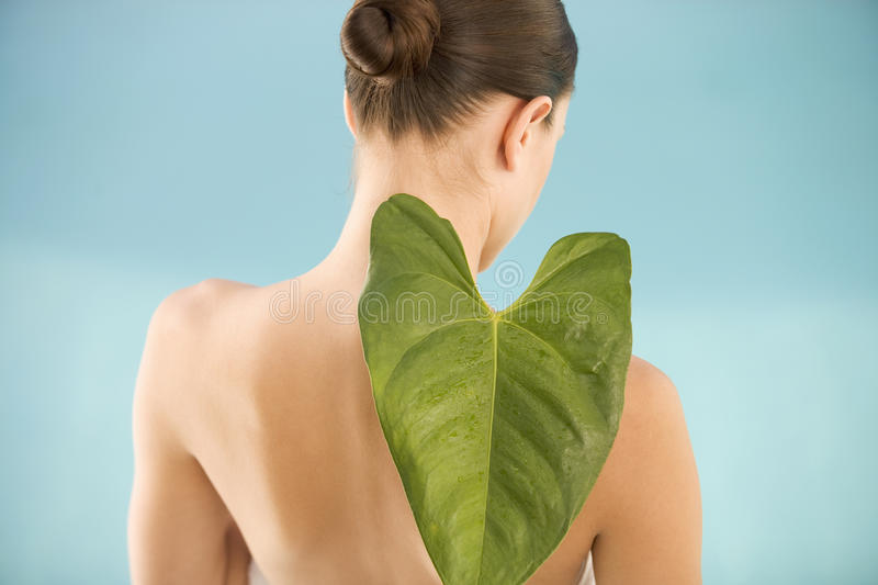 A young woman holding a tropical leaf stock image