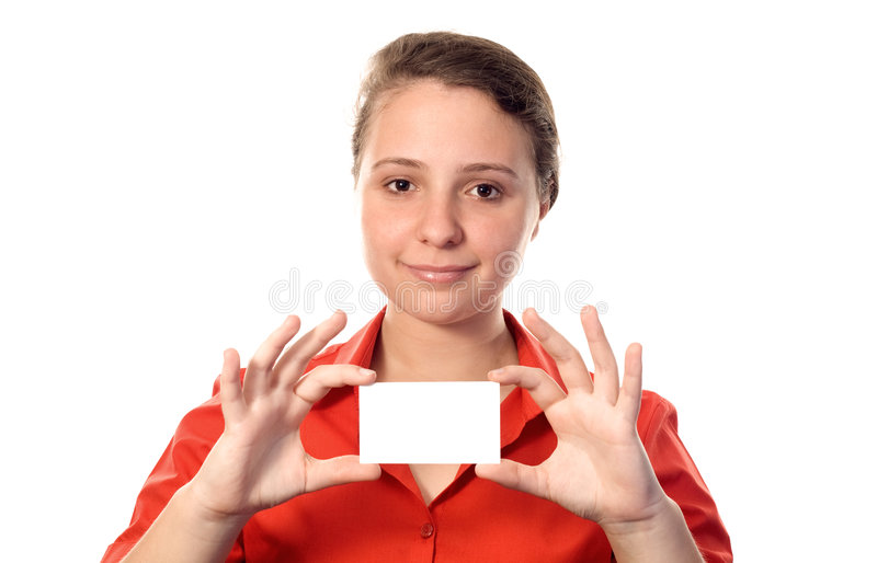 Young woman holding a white card