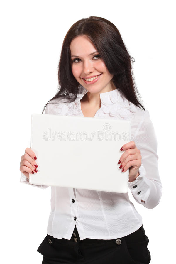 Young woman holding a white notebook