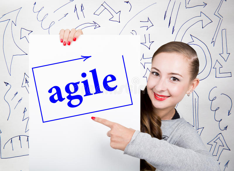 Young woman holding whiteboard with writing word: agile. Technology, internet, business and marketing. royalty free stock photography