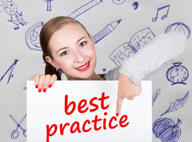 Young woman holding whiteboard with writing word: best practice. Technology, internet, business and marketing. royalty free stock images