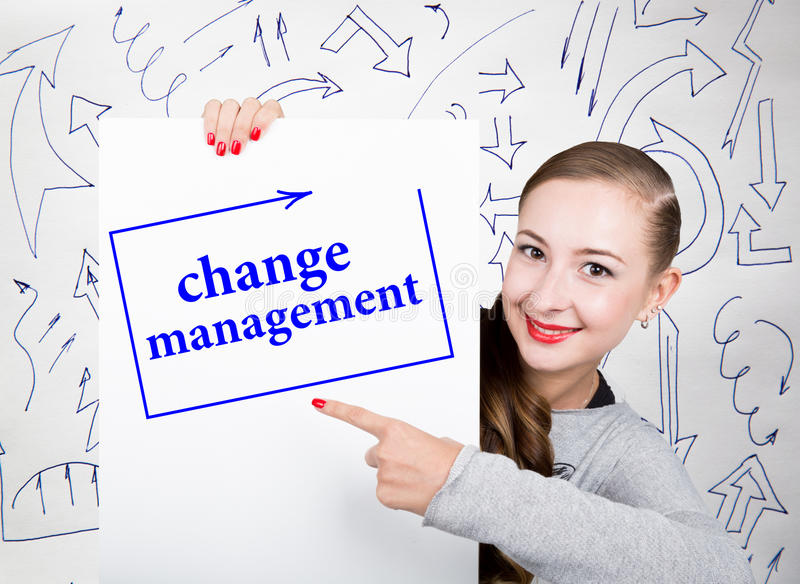 Young woman holding whiteboard with writing word: change management. Technology, internet, business and marketing. royalty free stock photos