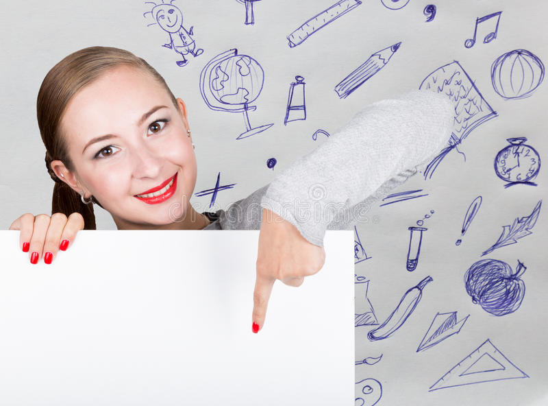 Young woman holding whiteboard with writing word: white form. Technology, internet, business and marketing. royalty free stock photos