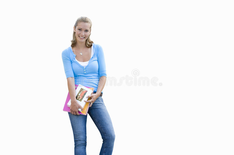 young woman holding work file, cut out royalty free stock images