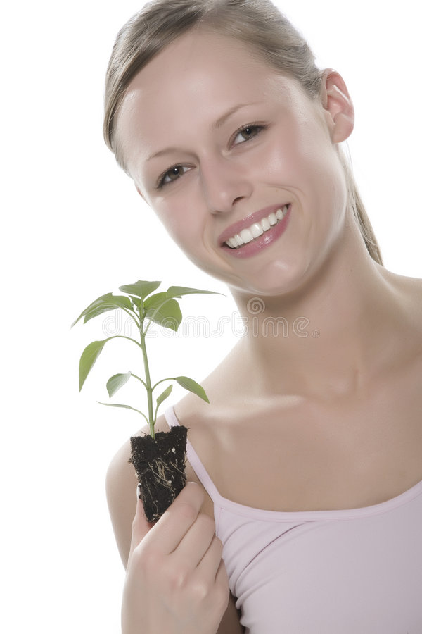 Download Young Woman Holding Young Sprout In The Hands. Stock Image - Image: 5172537