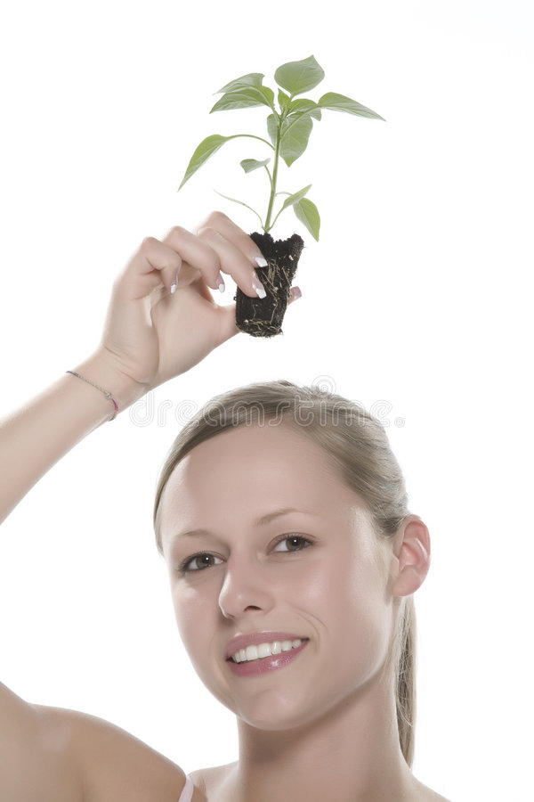 Download Young Woman Holding Young Sprout In The Hands. Stock Image - Image of carry, mould: 5172893
