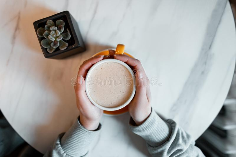 Young woman holds in her hands a cup with a hot sweet cappuccino sitting at a table in a cafe. Great morning for coffee gourmets. stock photography