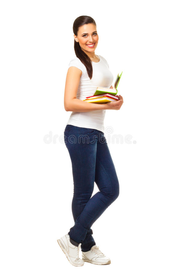 Young Woman Holds Open Books Royalty Free Stock Photography