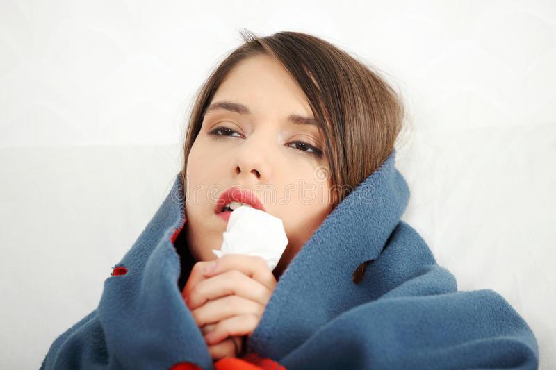 Young Woman At Home Having Flu. Royalty Free Stock Images