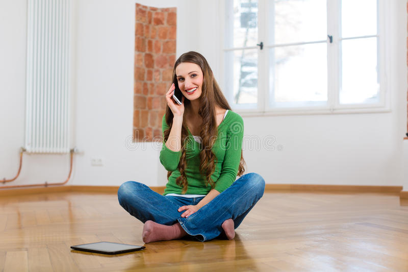 Download Young Woman At Home On The Phone Stock Photo - Image: 30692810