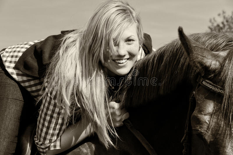 Download Young Woman With Horse - Black And White Royalty Free Stock Image - Image: 25415696
