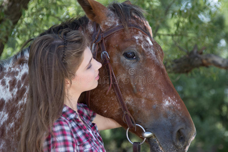 Young woman with horse royalty free stock photography