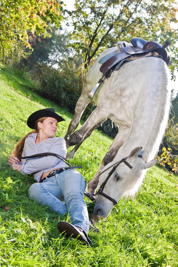 Download Young Woman With A Horse On The Field Stock Image - Image: 16750021