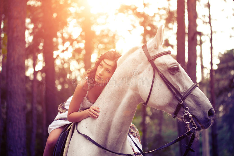 Young woman on a horse. Horseback rider, woman riding horse. Beautiful woman on a horse. Horseback rider, woman riding horse royalty free stock photography