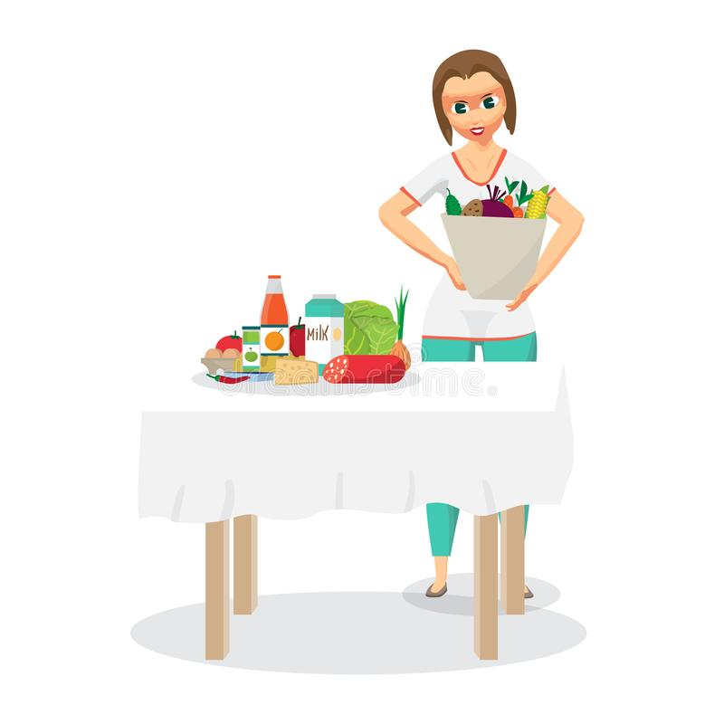 Young woman housewife came from the supermarket and unloaded the stock illustration