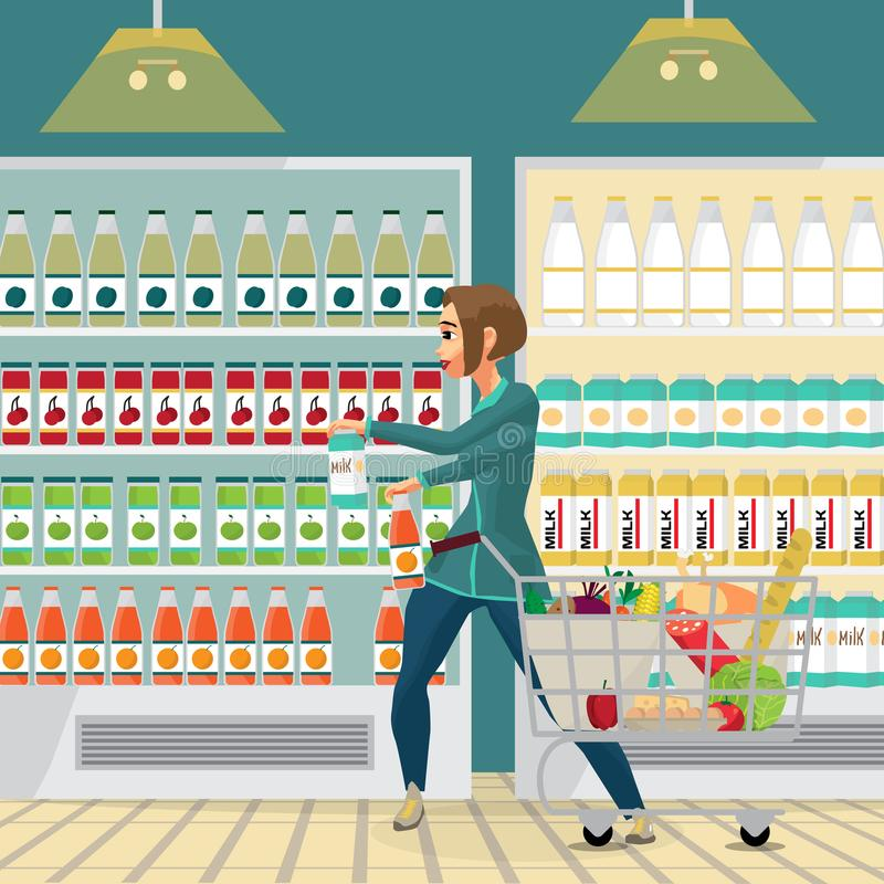 Young woman housewife in a supermarket with a full shopping cart royalty free illustration