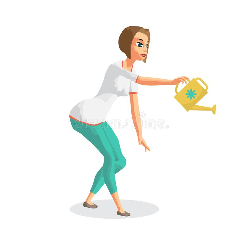Young woman housewife is watering the indoor flowers. vector illustration
