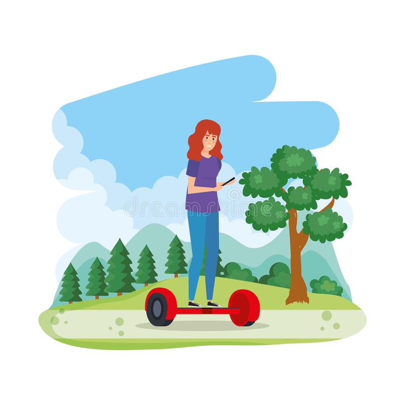 Young woman in hoverboard electric in the field vector illustration