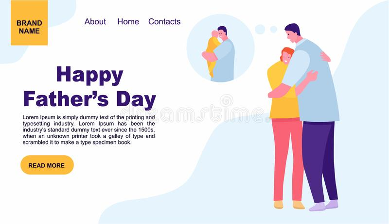Young woman hugging her father outside. father`s day. Landing page template of family. web page design for website and mobile. Website. Vector illustration flat stock illustration