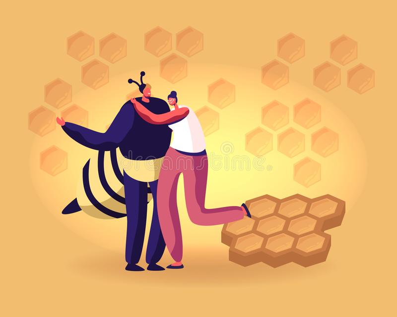 Young Woman Hugging Man in Bee Costume on Yellow Background with Honeycombs Pattern. Care of Apis, Beekeeping vector illustration