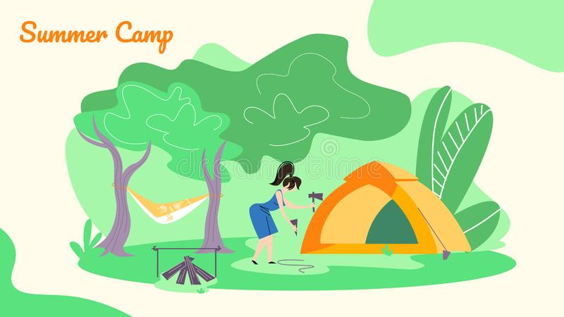 Young Woman Hummer Sticks to Ground to Set Up Tent royalty free illustration