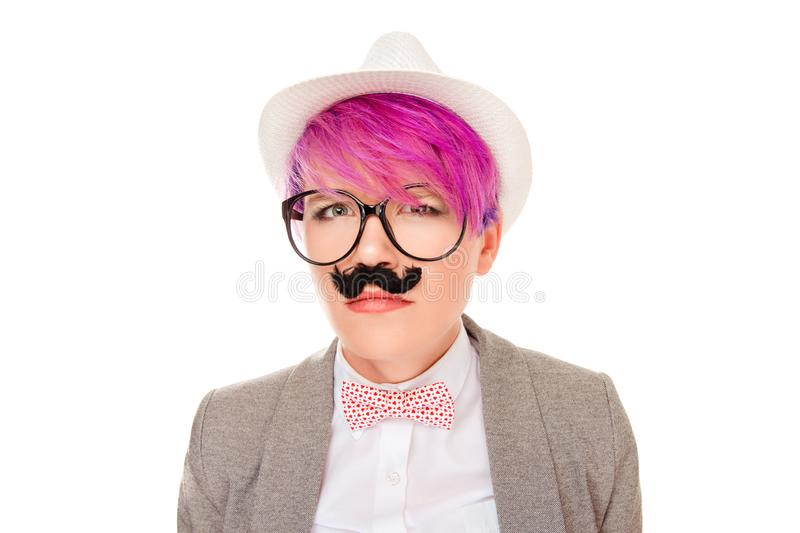 Young woman imitating upset suspicious frustrated man royalty free stock image
