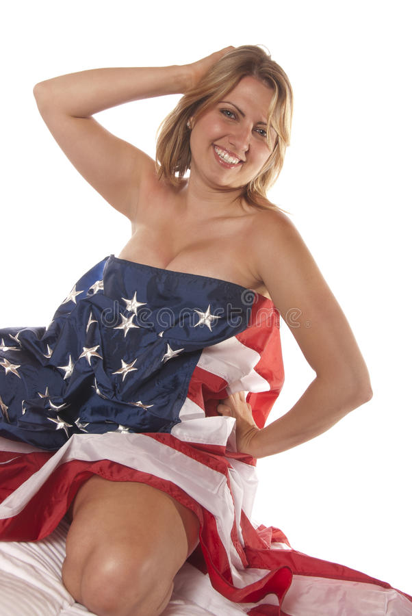 Download Young Woman Implied Nude American Flag Stock Photography - Image: 25940092