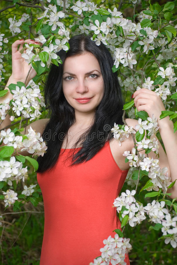 Free Young Woman In Flowers Royalty Free Stock Image - 13754866