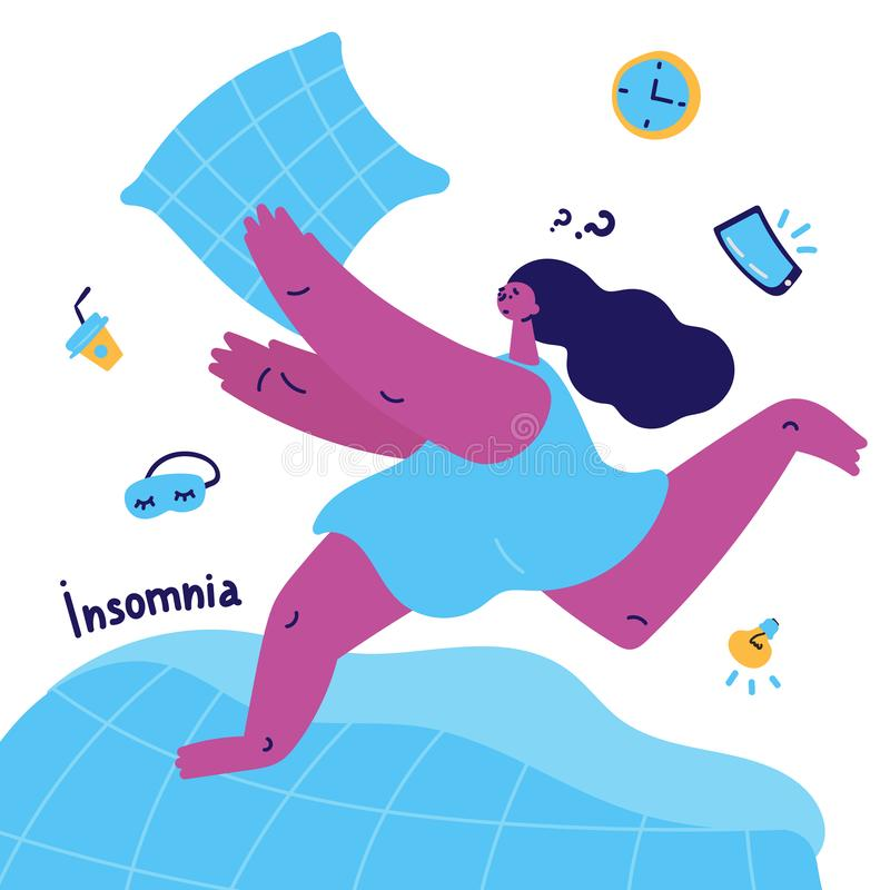 Young woman with insomnia catches a pillow. Young woman with insomnia runs on the bed and catches a pillow.Woman suffering from insomnia.Girl thinks how to solve royalty free illustration