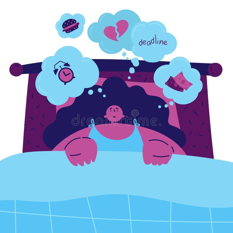 Young woman with insomnia lying in bed. Young woman with insomnia lying in bed and can not get rid of thoughts about various exciting aspects of life.Woman vector illustration