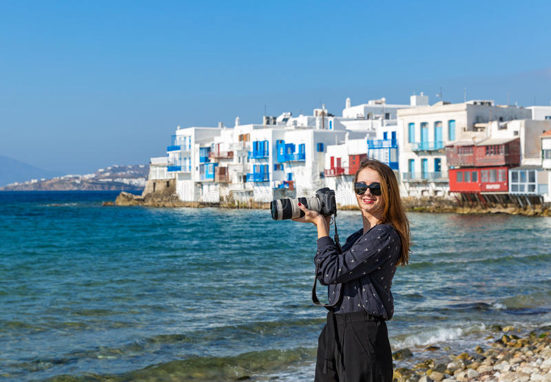 Young woman on the island of Mykonos royalty free stock images