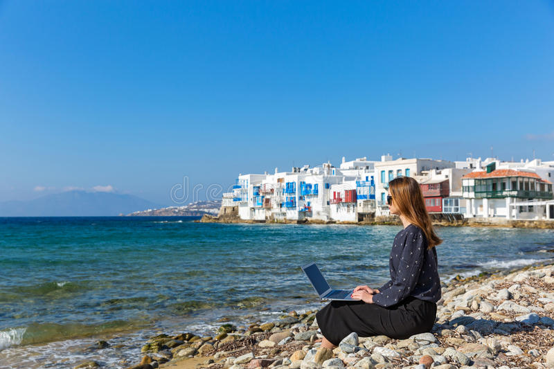 Young woman on the island of Mykonos stock photo