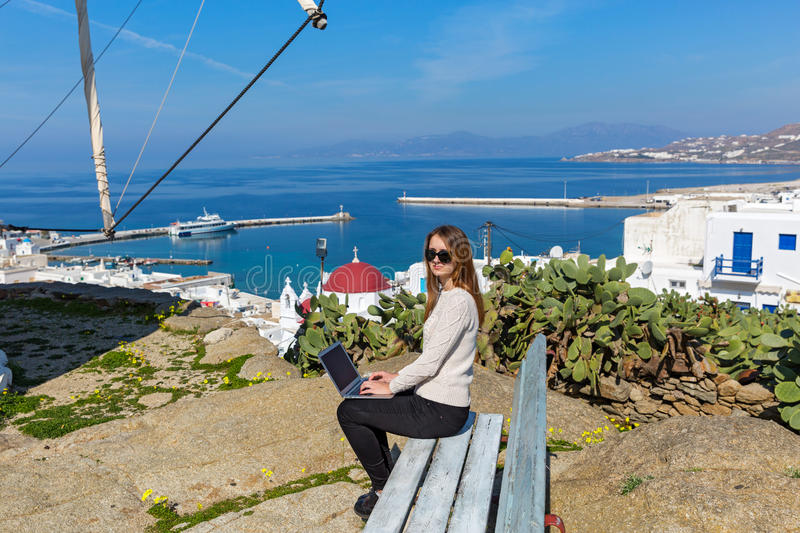 Young woman on the island of Mykonos royalty free stock photography