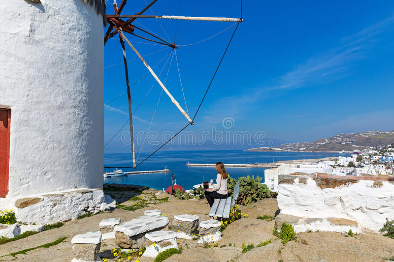 Young woman on the island of Mykonos royalty free stock image