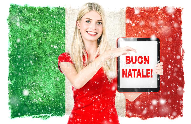 Young woman italian national flag Merry Christmas buon natale royalty free stock images