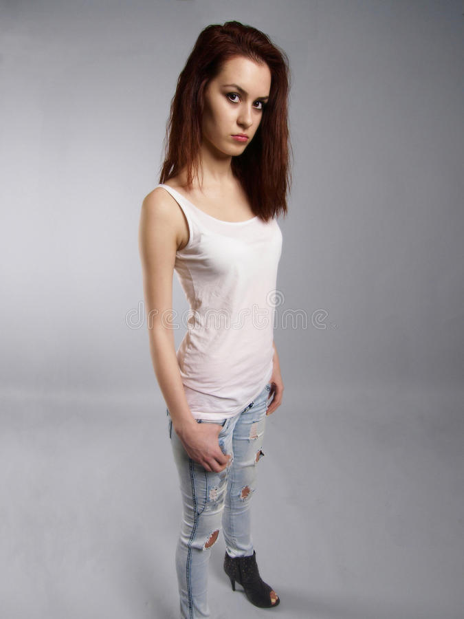 Download Young woman in jeans stock image. Image of style, space - 22266835