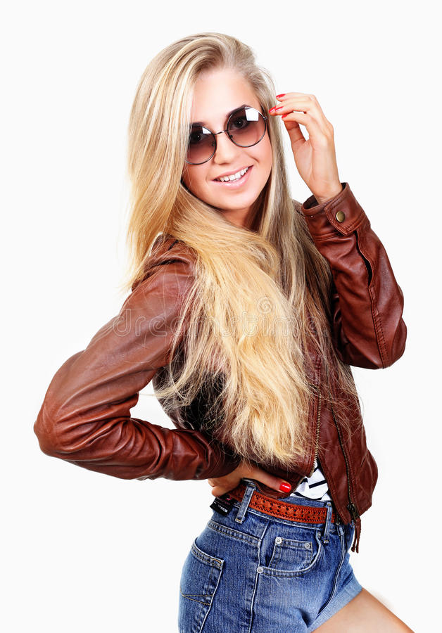 Download Young Woman In Jeans Shorts Stock Image - Image: 27496551