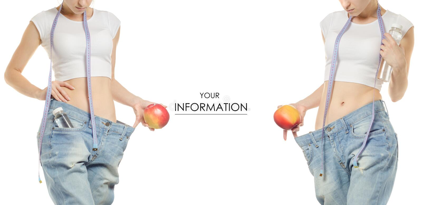 Young woman in jeans weight loss slimming with an apple centimeter bottle of water pattern set stock images