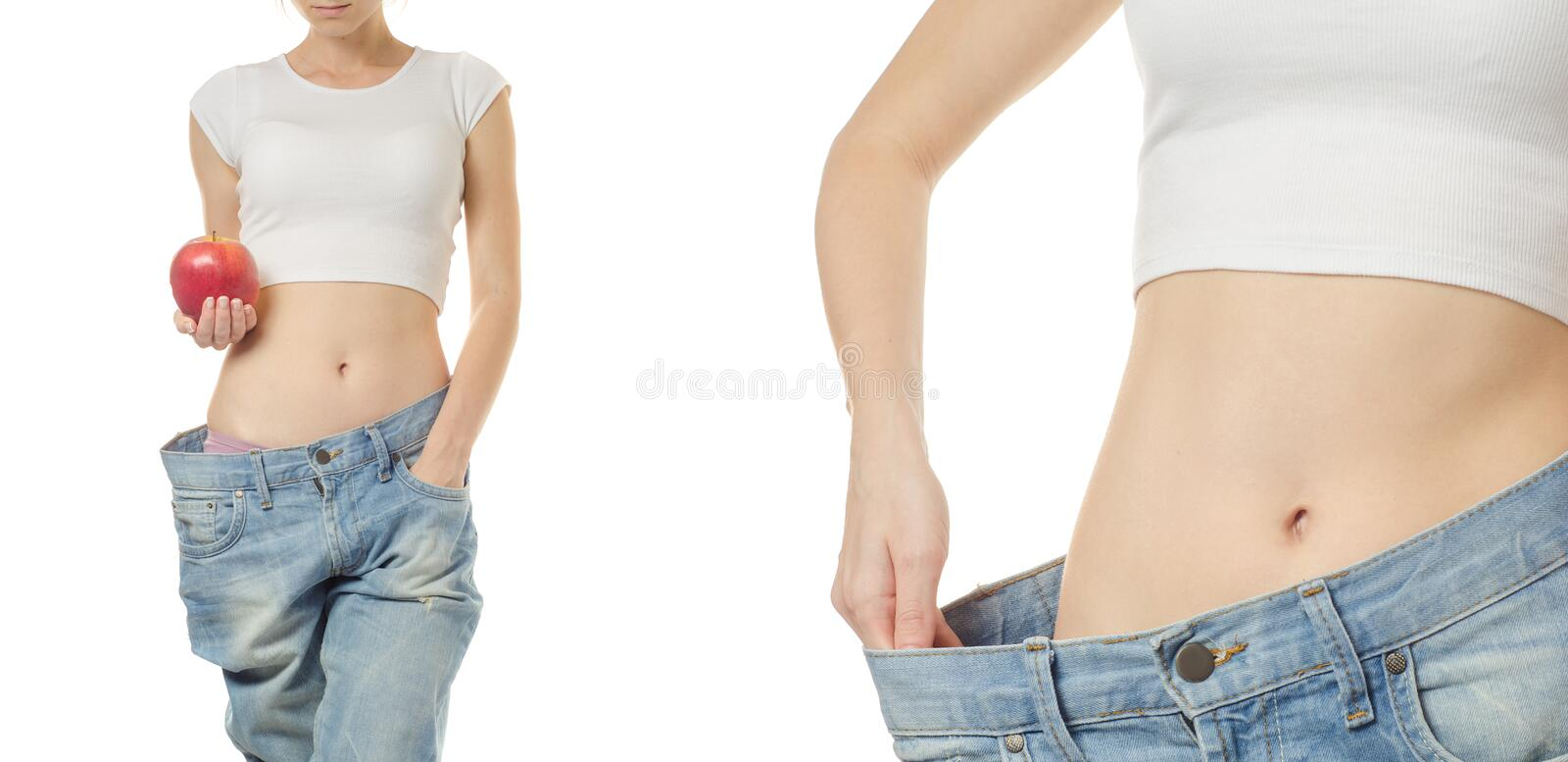 Young woman in jeans weight loss slimming with apple set royalty free stock photography