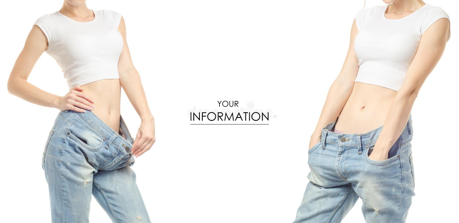 Young woman in jeans weight loss weight loss set pattern stock image