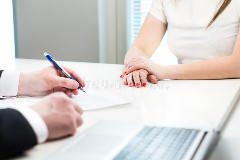 Young woman in job interview with business man. royalty free stock image