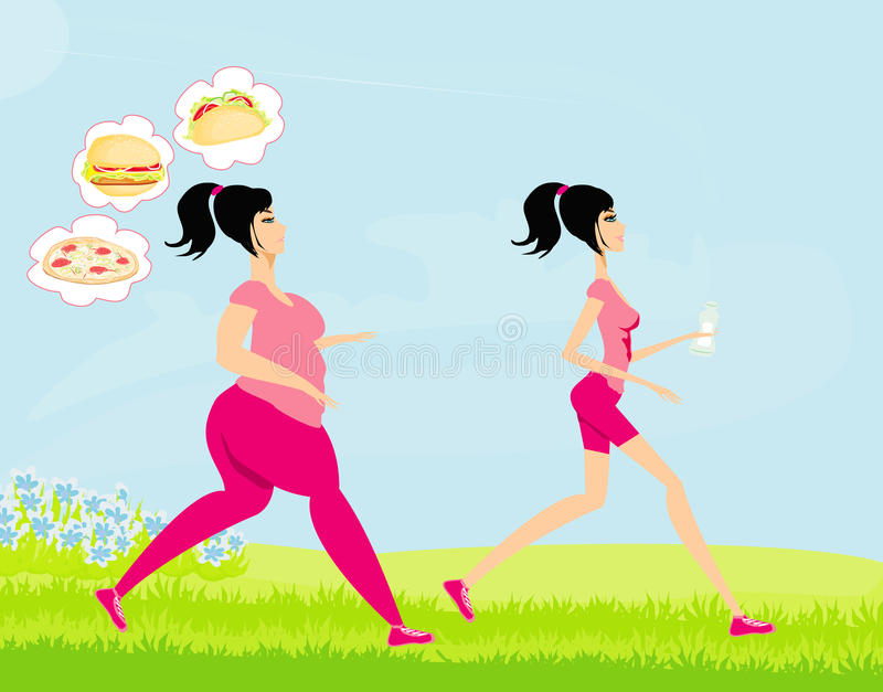 Download Young Woman Jogging,fat Girl And Skinny Stock Photo - Image: 31900992