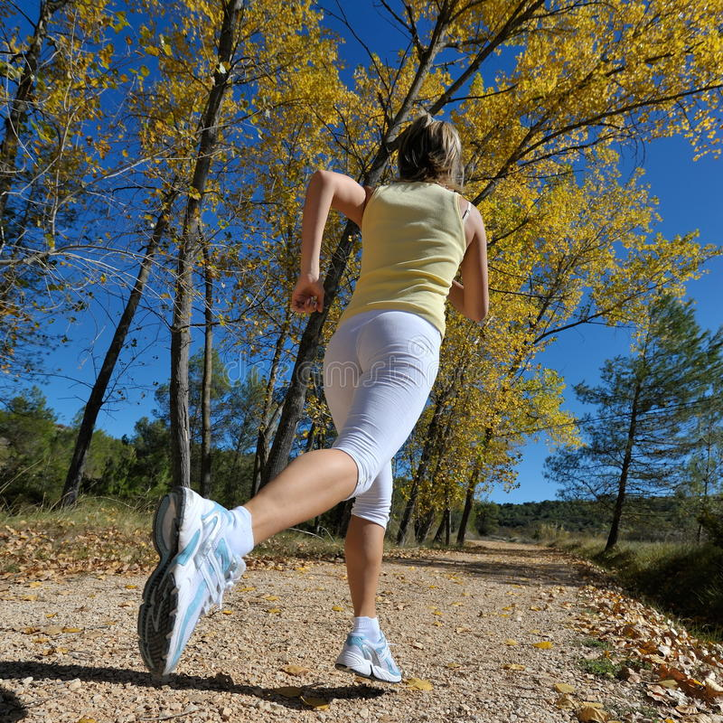 Young woman jogging in the park stock image