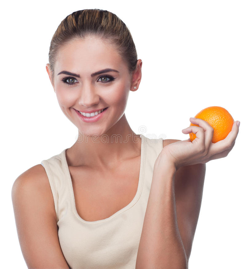 Young woman with juice stock images